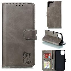 Embossing Happy Cat Leather Wallet Case for iPhone 12 Pro (6.1 inch) - Gray