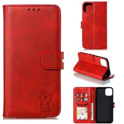Embossing Happy Cat Leather Wallet Case for iPhone 12 Pro (6.1 inch) - Red
