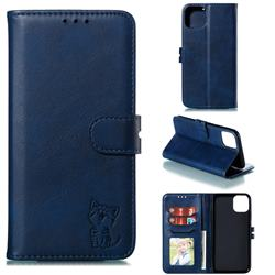 Embossing Happy Cat Leather Wallet Case for iPhone 12 Pro (6.1 inch) - Blue