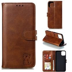 Embossing Happy Cat Leather Wallet Case for iPhone 12 Pro (6.1 inch) - Brown