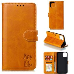 Embossing Happy Cat Leather Wallet Case for iPhone 12 Pro (6.1 inch) - Yellow