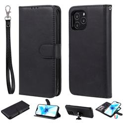 Retro Greek Detachable Magnetic PU Leather Wallet Phone Case for iPhone 12 Pro (6.1 inch) - Black