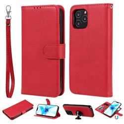 Retro Greek Detachable Magnetic PU Leather Wallet Phone Case for iPhone 12 Pro (6.1 inch) - Red