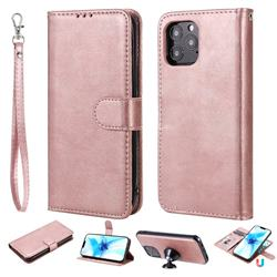 Retro Greek Detachable Magnetic PU Leather Wallet Phone Case for iPhone 12 Pro (6.1 inch) - Rose Gold