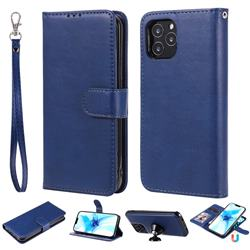 Retro Greek Detachable Magnetic PU Leather Wallet Phone Case for iPhone 12 Pro (6.1 inch) - Blue
