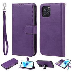 Retro Greek Detachable Magnetic PU Leather Wallet Phone Case for iPhone 12 Pro (6.1 inch) - Purple