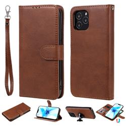 Retro Greek Detachable Magnetic PU Leather Wallet Phone Case for iPhone 12 Pro (6.1 inch) - Brown