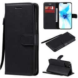 Retro Greek Classic Smooth PU Leather Wallet Phone Case for iPhone 12 Pro (6.1 inch) - Black