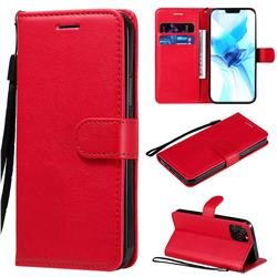 Retro Greek Classic Smooth PU Leather Wallet Phone Case for iPhone 12 / 12 Pro (6.1 inch) - Red