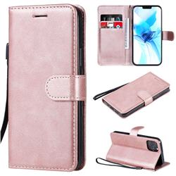 Retro Greek Classic Smooth PU Leather Wallet Phone Case for iPhone 12 Pro (6.1 inch) - Rose Gold