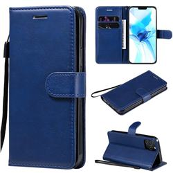 Retro Greek Classic Smooth PU Leather Wallet Phone Case for iPhone 12 / 12 Pro (6.1 inch) - Blue