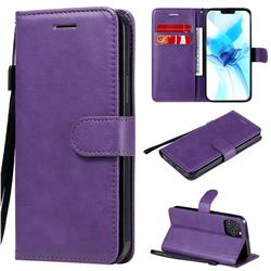 Retro Greek Classic Smooth PU Leather Wallet Phone Case for iPhone 12 / 12 Pro (6.1 inch) - Purple