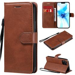 Retro Greek Classic Smooth PU Leather Wallet Phone Case for iPhone 12 Pro (6.1 inch) - Brown