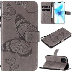Embossing 3D Butterfly Leather Wallet Case for iPhone 12 Pro (6.1 inch) - Gray
