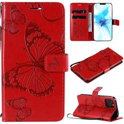 Embossing 3D Butterfly Leather Wallet Case for iPhone 12 / 12 Pro (6.1 inch) - Red