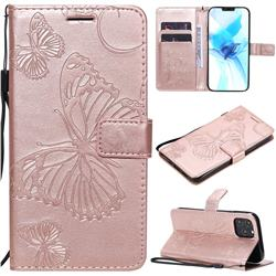 Embossing 3D Butterfly Leather Wallet Case for iPhone 12 Pro (6.1 inch) - Rose Gold