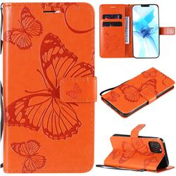 Embossing 3D Butterfly Leather Wallet Case for iPhone 12 Pro (6.1 inch) - Orange