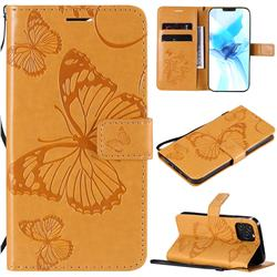 Embossing 3D Butterfly Leather Wallet Case for iPhone 12 / 12 Pro (6.1 inch) - Yellow