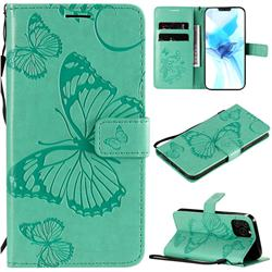 Embossing 3D Butterfly Leather Wallet Case for iPhone 12 Pro (6.1 inch) - Green