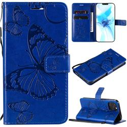 Embossing 3D Butterfly Leather Wallet Case for iPhone 12 Pro (6.1 inch) - Blue