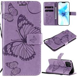 Embossing 3D Butterfly Leather Wallet Case for iPhone 12 Pro (6.1 inch) - Purple