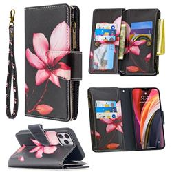 Lotus Flower Binfen Color BF03 Retro Zipper Leather Wallet Phone Case for iPhone 12 Pro (6.1 inch)