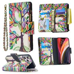 The Tree of Life Binfen Color BF03 Retro Zipper Leather Wallet Phone Case for iPhone 12 Pro (6.1 inch)