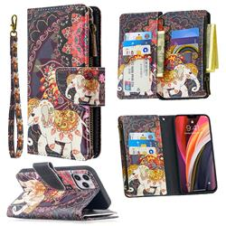 Totem Flower Elephant Binfen Color BF03 Retro Zipper Leather Wallet Phone Case for iPhone 12 Pro (6.1 inch)