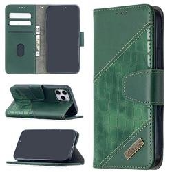 BinfenColor BF04 Color Block Stitching Crocodile Leather Case Cover for iPhone 12 Pro (6.1 inch) - Green