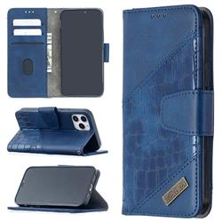 BinfenColor BF04 Color Block Stitching Crocodile Leather Case Cover for iPhone 12 Pro (6.1 inch) - Blue