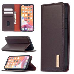 Binfen Color BF06 Luxury Classic Genuine Leather Detachable Magnet Holster Cover for iPhone 12 Pro (6.1 inch) - Dark Brown