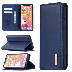 Binfen Color BF06 Luxury Classic Genuine Leather Detachable Magnet Holster Cover for iPhone 12 Pro (6.1 inch) - Blue