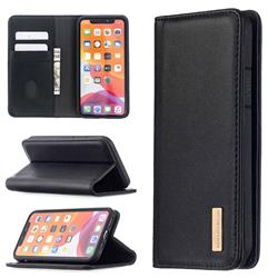 Binfen Color BF06 Luxury Classic Genuine Leather Detachable Magnet Holster Cover for iPhone 12 Pro (6.1 inch) - Black