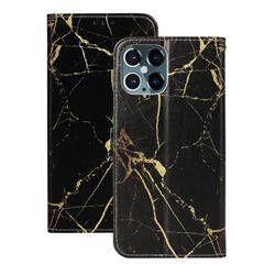 Black Gold Marble PU Leather Wallet Case for iPhone 12 Pro (6.1 inch)