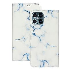 Soft White Marble PU Leather Wallet Case for iPhone 12 Pro (6.1 inch)