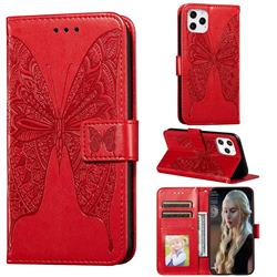 Intricate Embossing Vivid Butterfly Leather Wallet Case for iPhone 12 Pro (6.1 inch) - Red