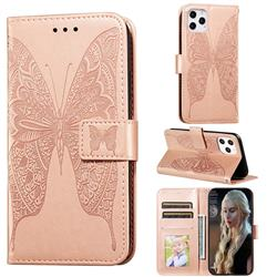 Intricate Embossing Vivid Butterfly Leather Wallet Case for iPhone 12 / 12 Pro (6.1 inch) - Rose Gold