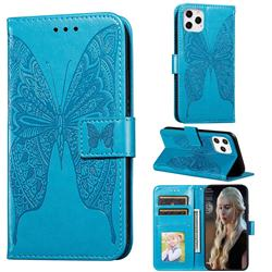 Intricate Embossing Vivid Butterfly Leather Wallet Case for iPhone 12 Pro (6.1 inch) - Blue
