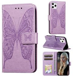 Intricate Embossing Vivid Butterfly Leather Wallet Case for iPhone 12 Pro (6.1 inch) - Purple