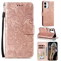 Intricate Embossing Lace Jasmine Flower Leather Wallet Case for iPhone 12 / 12 Pro (6.1 inch) - Rose Gold