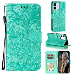 Intricate Embossing Lace Jasmine Flower Leather Wallet Case for iPhone 12 Pro (6.1 inch) - Green