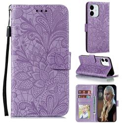 Intricate Embossing Lace Jasmine Flower Leather Wallet Case for iPhone 12 Pro (6.1 inch) - Purple