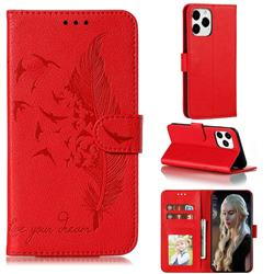Intricate Embossing Lychee Feather Bird Leather Wallet Case for iPhone 12 / 12 Pro (6.1 inch) - Red