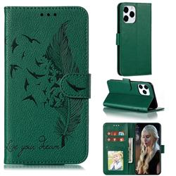Intricate Embossing Lychee Feather Bird Leather Wallet Case for iPhone 12 / 12 Pro (6.1 inch) - Green