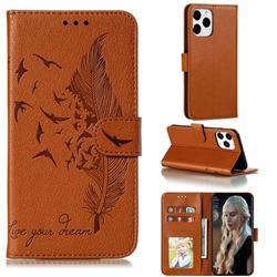 Intricate Embossing Lychee Feather Bird Leather Wallet Case for iPhone 12 / 12 Pro (6.1 inch) - Brown