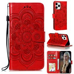 Intricate Embossing Datura Solar Leather Wallet Case for iPhone 12 / 12 Pro (6.1 inch) - Red