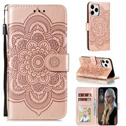 Intricate Embossing Datura Solar Leather Wallet Case for iPhone 12 / 12 Pro (6.1 inch) - Rose Gold