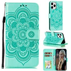 Intricate Embossing Datura Solar Leather Wallet Case for iPhone 12 / 12 Pro (6.1 inch) - Green