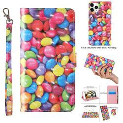 Colorful Jelly Beans 3D Painted Leather Wallet Case for iPhone 12 / 12 Pro (6.1 inch)