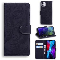 Intricate Embossing Tiger Face Leather Wallet Case for iPhone 12 / 12 Pro (6.1 inch) - Black